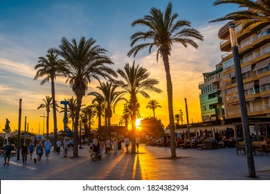 Torrevieja, Alicante / Spain »; September 12, 2020: Promenade with palm trees at sunset in the coastal town of Torrevieja, Alicante, Valencian Community. Spain, Mediterranean Sea