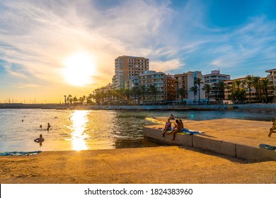 Torrevieja, Alicante / Spain »; September 12, 2020: Sunset in the coastal town of Torrevieja, Alicante, Valencian Community. Spain, Mediterranean Sea