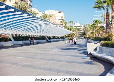 Torrevieja, Spain, 09.03.2021, Promenade of Torrevieja. Torrevieja is a Mediterranean city, popular travel destination for tourists. Costa Blanca. Spain