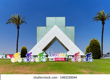 Torrevieja, Spain - August 18, 2019: Billboard visual advertisement invitation to 2019 Vuelta Grand Tour cycling stage race that is scheduled to take place in Spain start in Torrevieja, Costa Blanca