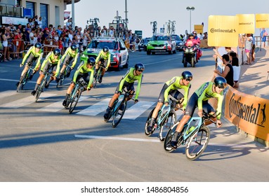 Torrevieja, Spain - August 24, 2019: Bicyclist racers take part on competitions popular event of La Vuelta, one of the leading cycling races in international calendar 2019 starts in Torrevieja, Spain