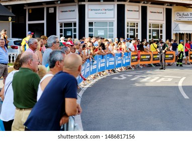 Torrevieja, Spain - August 24, 2019: Crowd of people audience gather for watching La Vuelta popular event race, one of leading cycling races in international calendar 2019 starts in Torrevieja, Spain