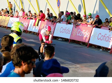 Torrevieja, Spain - August 24, 2019: Bicyclist racer take part on competition popular event of La Vuelta, one of the leading cycling races in international calendar 2019 starts in Torrevieja, Spain