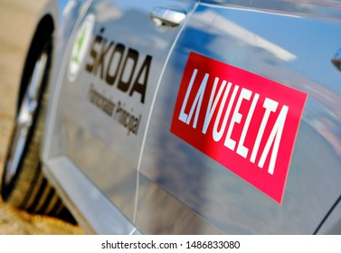 Torrevieja, Spain - August 24, 2019: Close up view on the grey car La Vuelta red sign, international competition popular event one of the leading cycling races, in 2019 starts in Torrevieja, Spain
