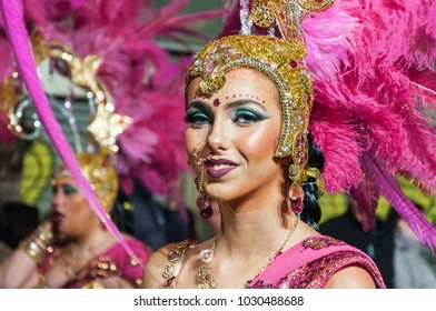 TORREVIEJA, SPAIN,  FEBRUARY 11,2018: Carnival groups and costumed characters