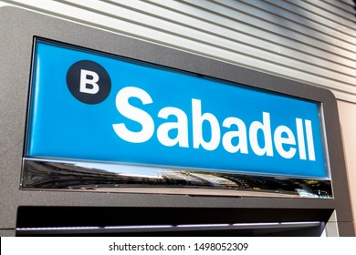 Torrevieja, SPAIN - JULY 19, 2018: Sabadell logo on Sabadell's bank branch office. Sabadell is a spanish bank founded in 1881