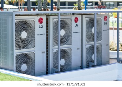 Torrevieja, Spain - July 2, 2018: LG air conditioner outdoors. South Korean multinational electronics company, LG Electronics comprises home entertainment, appliance and mobile communications