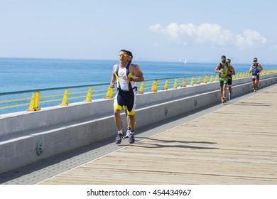 Torrevieja, Spain - June 19, 2016: Athletes in the triathlon of Torrevieja.