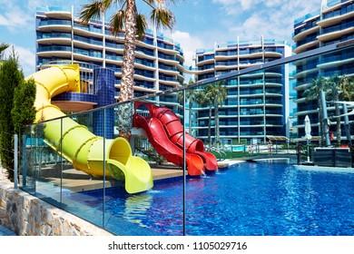 Torrevieja, Spain - May 20, 2018: Modern Sea Senses apartments located in Punta Prima. Torrevieja city. Spain