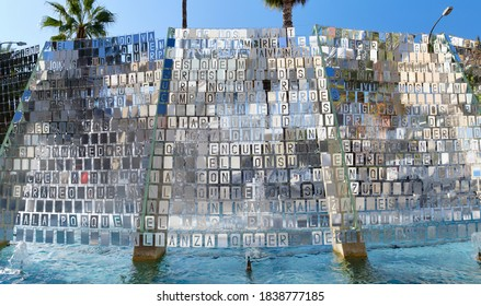 Torrevieja, Spain - October 19, 2020: Close up modern silver installation with conceptual text in the spanish resort city  of Torrevieja center. Province of Alicante, Costa Blanca, Spain