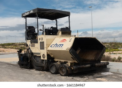 Torrevieja, Valenciana, Spain - Mar 01 2020 : CHM heavy weight road laying vehicle parked in spanish urbanisation