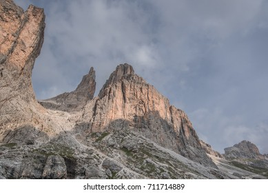 Torri del Vaiolet mountain group of six summits, part of the Catinaccio massif, as seen from Vaiolet refuge, Dolomites, South Tyrol, Italy