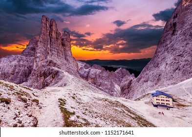 Torri Vajolet at sunset in Rosengarten Catinaccio massif. Beautiful view in Dolomites mountains, Alto Adige, South Tyrol, Italy