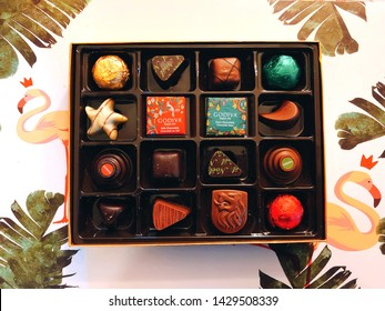 Torrington,Connecticut,United States.March 25th,2019.A gift box of Godiva chocolates with different flavors for Christmas holiday collection and truffle collection sold in a store in Connecticut.