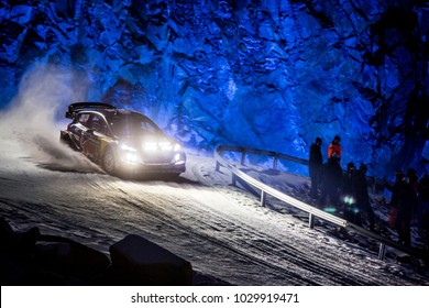 TORSBY, SWEDEN - 02-10-2017: Sebastien Ogier with his Ford WRC car during the event Rally Sweden 2017