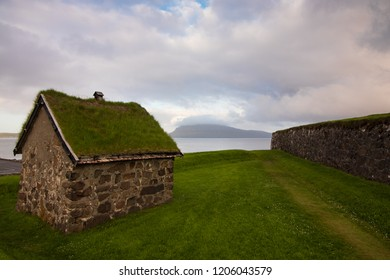Torshavn / Faroe Island - June 16 2017: Stone house at the old castle in Torshavn, Faroe Islands.