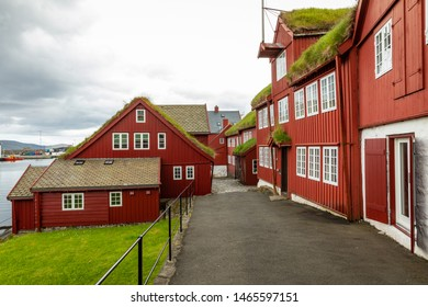 TORSHAVN, FAROE ISLANDS - JULY 05, 2019: Old town of capital city of Torshavn. Typical houses with peat roof ( grass roof ). Faroes Islands. Denmark. Europe.
