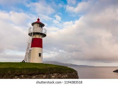 Torshavn / Faroe Islands - June 17 2017: Lighthouse in Torshavn during sunset.