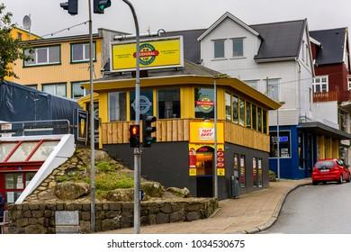 TORSHAVN, FAROE ISLANDS - SEPTEMBER 3, 2017: Architecture of Torshavn, the capital of Faroe Islands.
