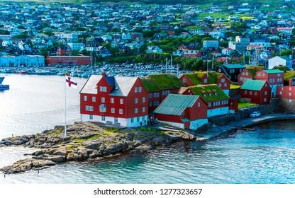 Torshavn, Faroe – July 11, 2018   Vestaravag bay and Torshavn old quarters cityscape, Faroese island of Streymoy