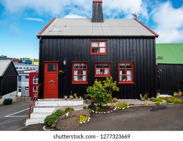 Torshavn, Faroe – July 11, 2018   Facade of traditional house in the Torshavn city, the capital of Faroe Islands