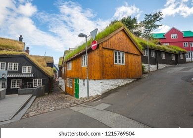 Torshavn houses with grass roof in the town center