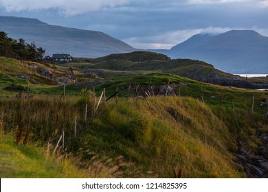 Torshavn outskirts view and the mountains