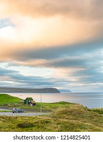 Torshavn outskirts view and oragne sunset