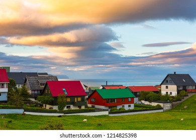 Torshavn outskirts view and orange sunset