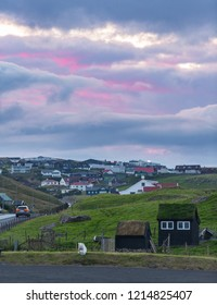 Torshavn outskirts view and pink sunset