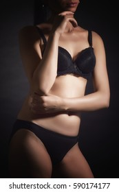 Torso in black lingerie