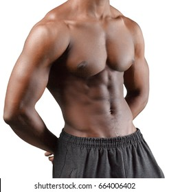 Torso of musculous african man isolated on white