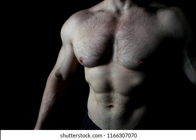 Torso with six pack and ab muscle of man. Muscular man with torso and chest.