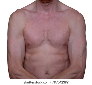 Torso of thin man with strained muscles. Shirtless male with crossed hands. Newbie in gym, budding bodybuilder, weak person. Underweight problem. Isolated on white.