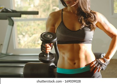 Torso of a young fit woman lifting dumbbells