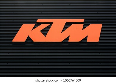 Torsted, Denmark - April  1, 2018: KTM logo on a wall. KTM is an Austrian motorcycle and sports car manufacturer