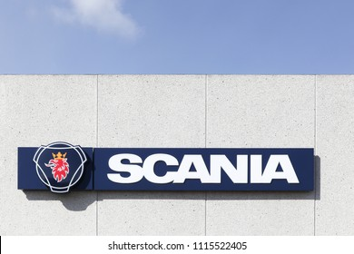 Torsted, Denmark - April 2, 2018: Scania sign on a wall. Scania is a major swedish automotive industry manufacturer of commercial vehicles specifically heavy trucks and buses