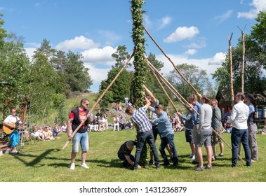 TORSTUNA, SWEDEN - JUNE 21: Unidentified people in midsummer celebration day on June 21, 2019 in Torstuna Sweden.