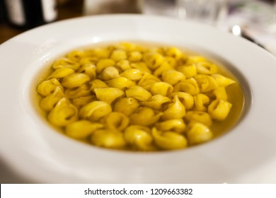 Tortellini in Brodo (Tortellini in Broth), a traditional dish famous in Bologna, Italy