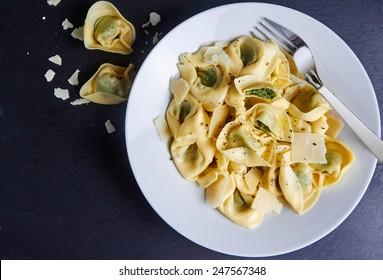 Tortellini dish with ricotta and spinach, top view