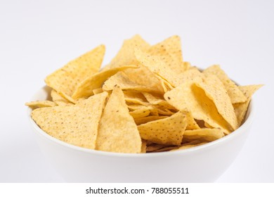 Tortilla chips isolated on white background