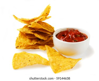 Tortilla chips with salsa dip isolated on white background