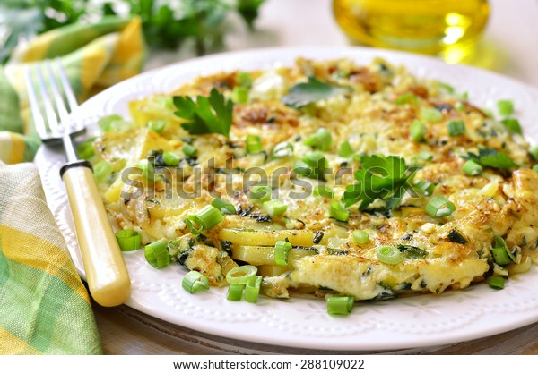 Tortilla - omelet with potato and onion.Spanish cuisine.