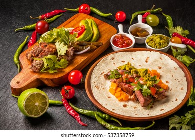 tortilla and tacos set Mexican food