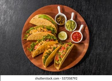 tortilla and tacos set Mexican food