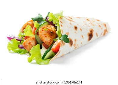 Tortilla wrap with chicken meat and vegetables isolated on white background.