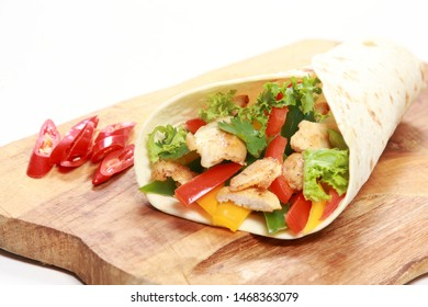 Tortilla wrap with fresh chicken and vegetables