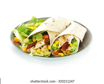 tortilla wraps stuffed with chicken breast, sundried tomatoes, sweet corn, pepper and lettuce