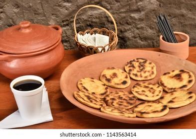 Tortillas de tiesto and cofffee, a traditional recipe from Ecuador