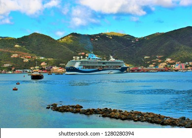 Tortola, British Virgin Islands, Caribbean - February 28th 2018: The Marella Discovery TUI cruise ship docked in port in Road Town, Tortola.